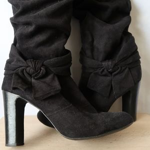 Black Knee High Slouch Boots